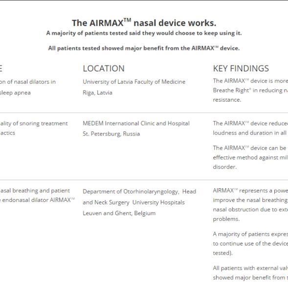 Airmax nasal device reaseach