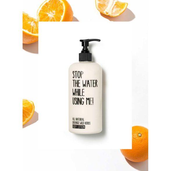 Stop The Water All Natural Orange Wild Herbs kehapiim taustaga