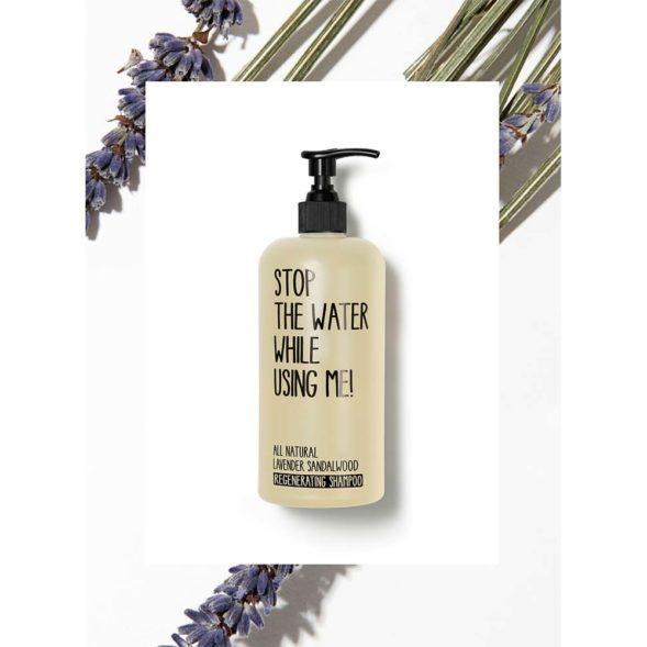 Stop The Water All Natural lavendli-sandlipuu taastav šampoon taustaga