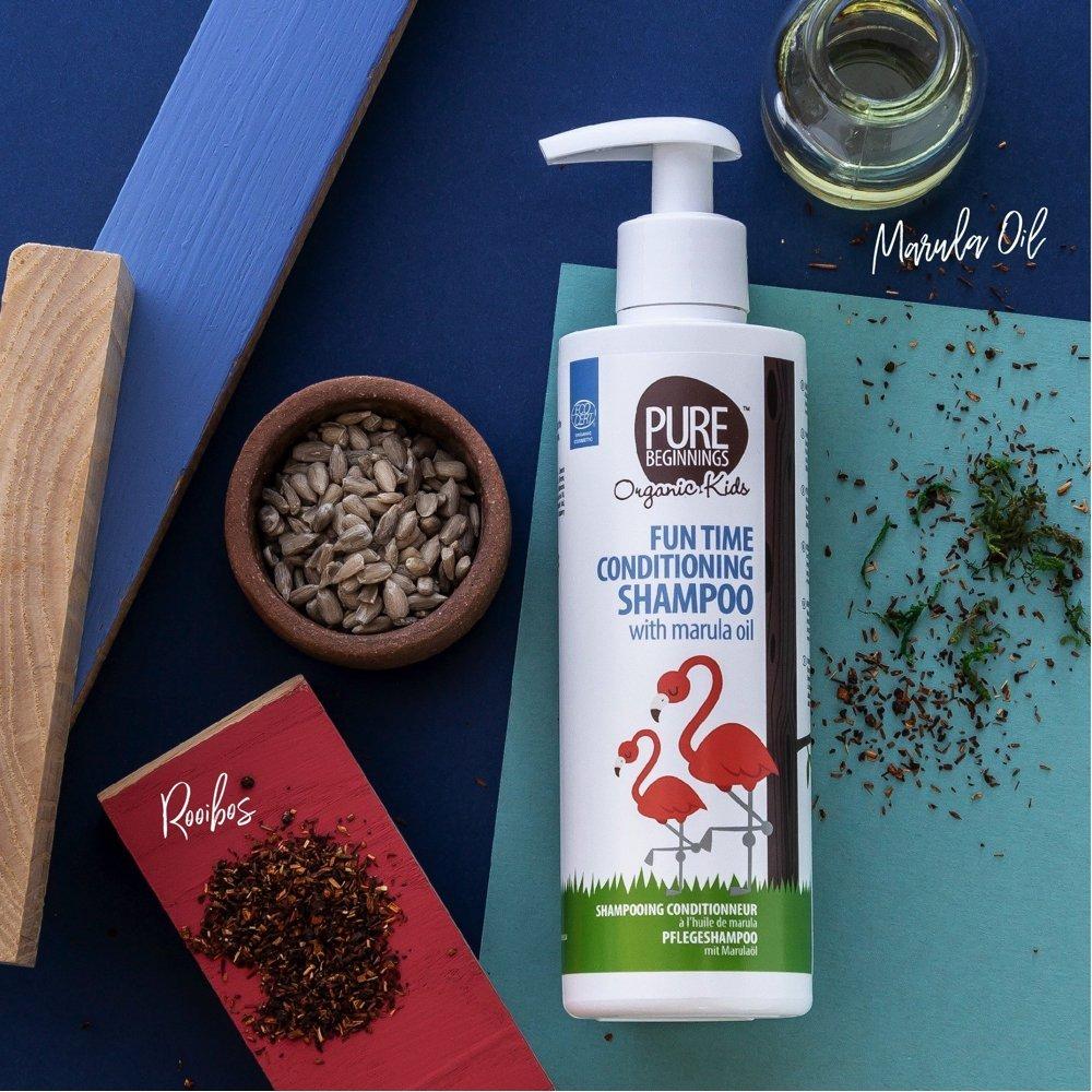 Pure Beginnings pisaravaba šampoon:balsam lastele, 2in1 marula õliga-01